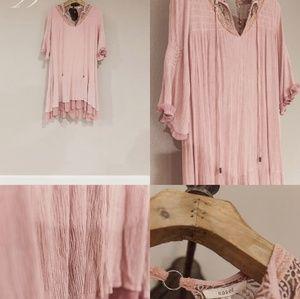 Easel boutique boho pink gauze dress